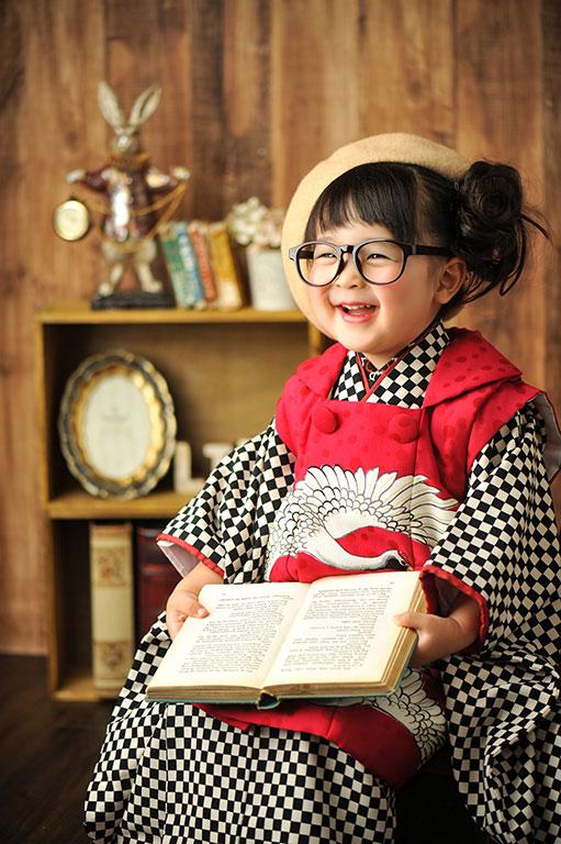 七五三3歳:着物/市松模様(モダンアンテナ)