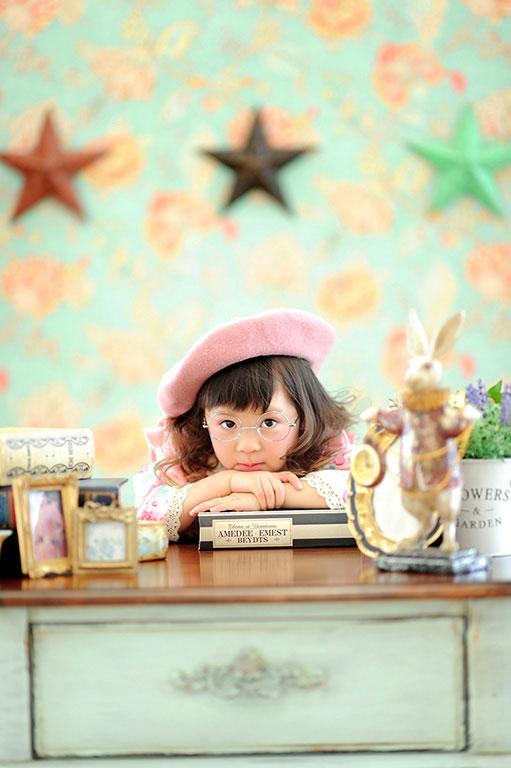 七五三3歳:着物/ピンク×白+ベレー帽