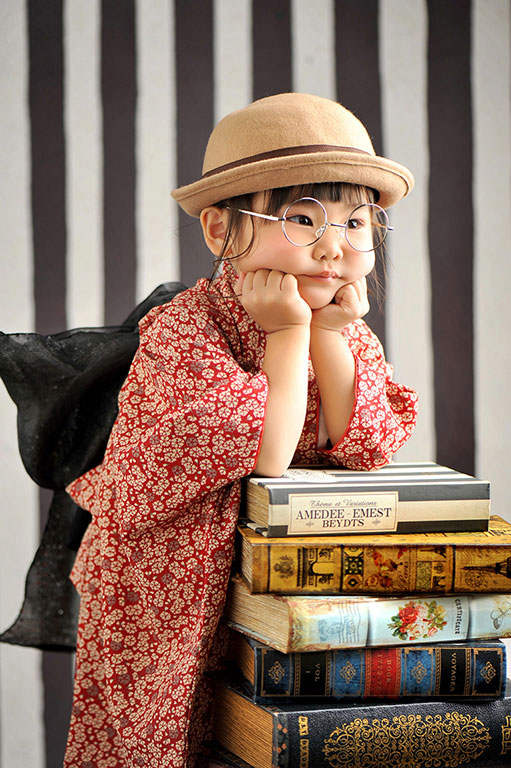 七五三3歳:着物/赤+帽子