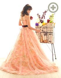 カラードレス:ベロアのリボンがかわいい!花柄の淡いオレンジ