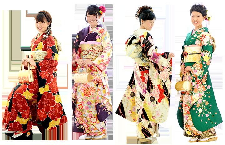 カラフルな振袖の4人の女性の写真