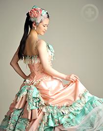 カラードレス:パステルカラーとレースが可愛くマカロンドレスと呼んでます!