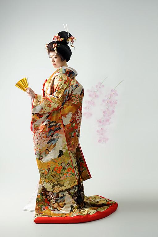 ウエディングフォト:色打掛/青/おカツラ
