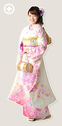 振袖:白×ピンク イ-フ-6