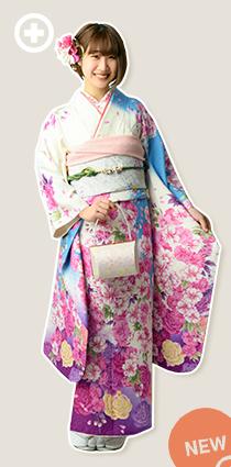 振袖:白×水色×ピンク イ-フ-59