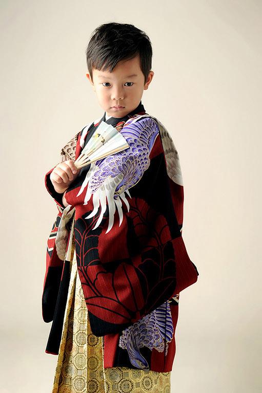 七五三5歳:着物/赤×黒