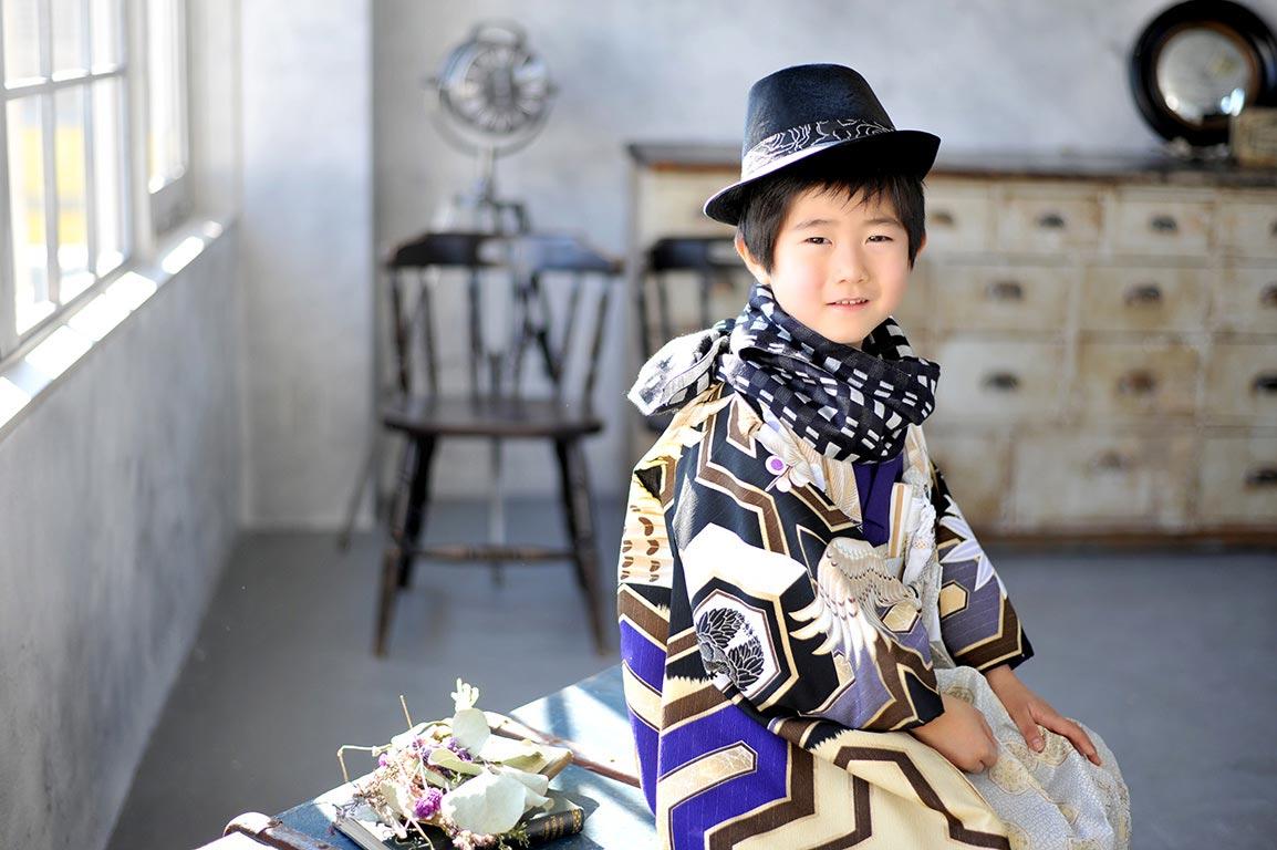七五三5歳:着物/紫