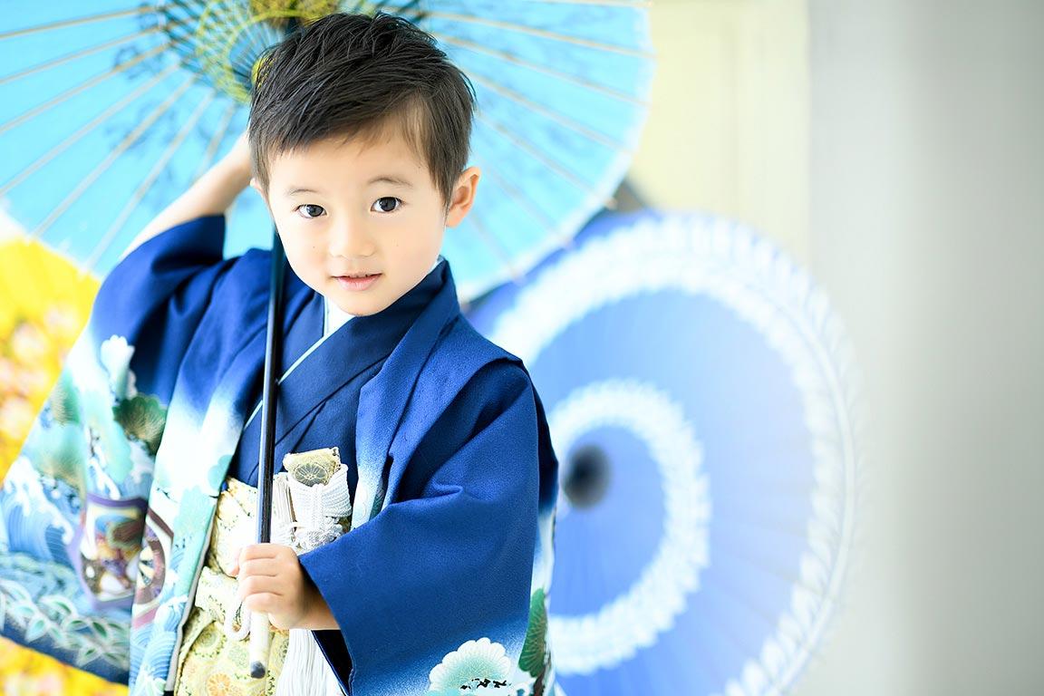 七五三5歳:着物/青