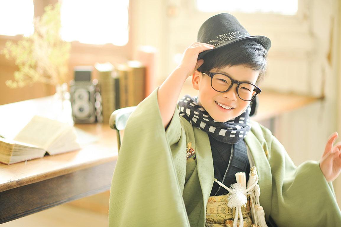 七五三5歳:着物/グリーン
