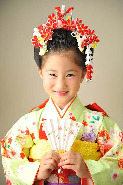 七五三7歳:着物/緑+日本髪