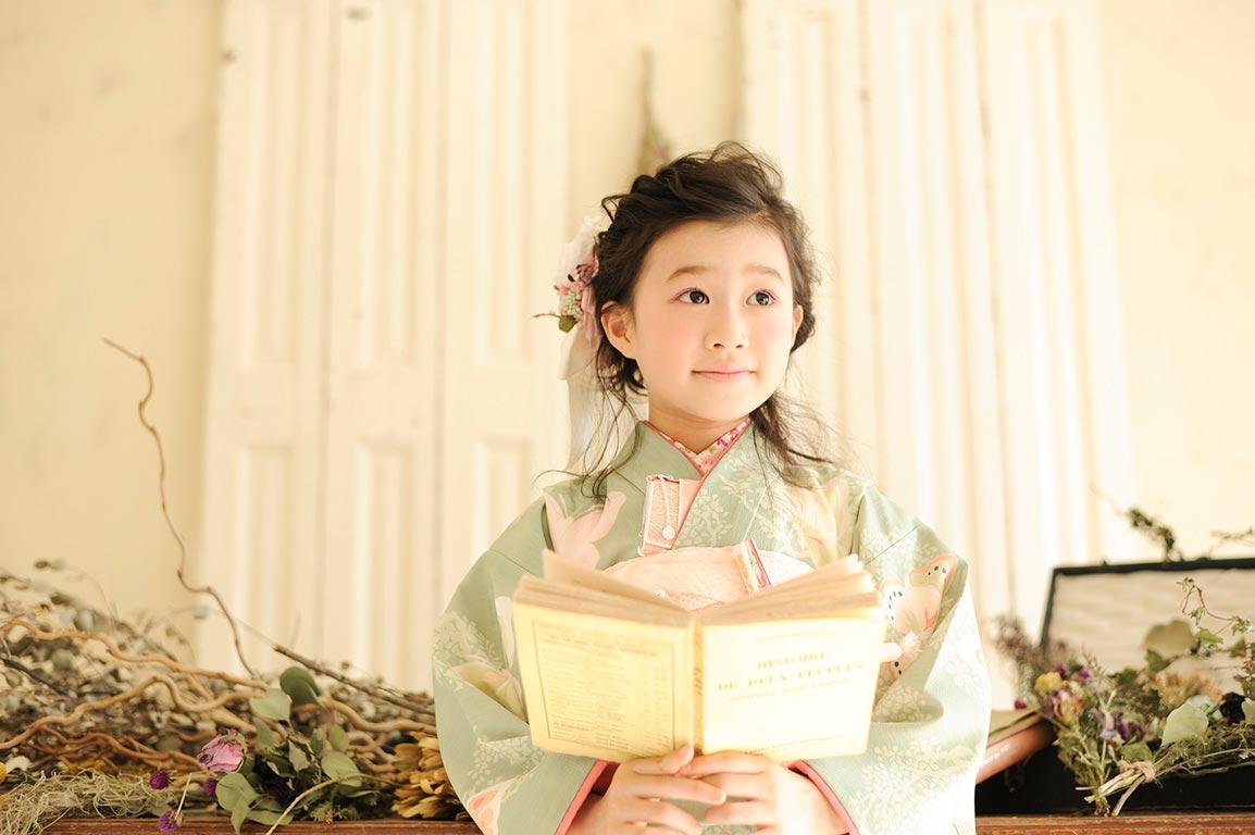 七五三7歳:着物/緑(JILLSTUART)