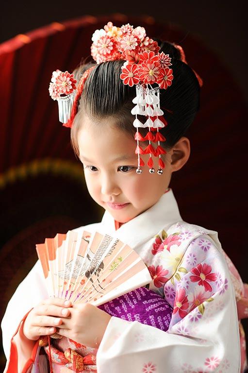 七五三7歳:着物/白(日本髪)