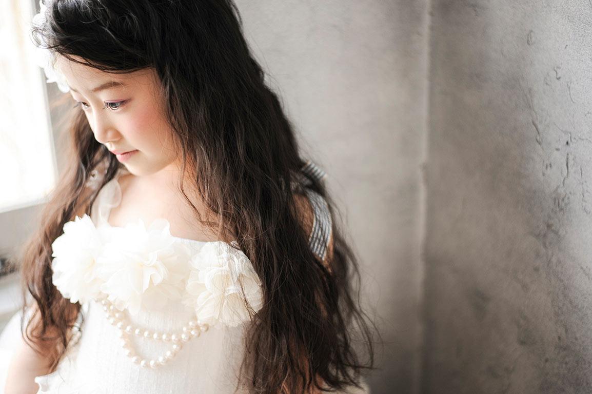 七五三7歳:ドレス/白