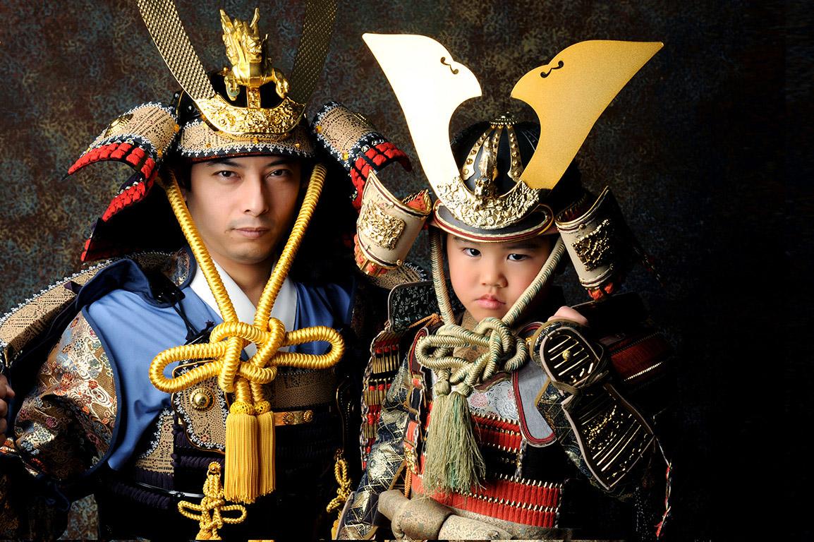 七五三家族写真:親子鎧兜(甲冑)/父子で!