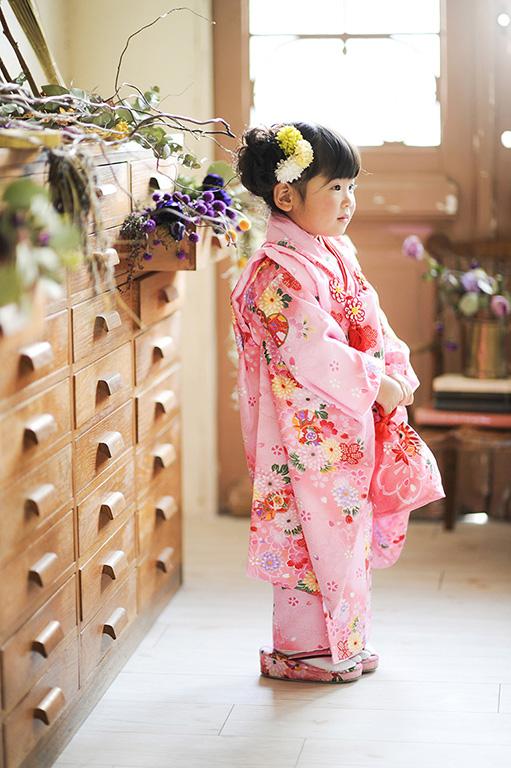 七五三3歳:着物/ピンク