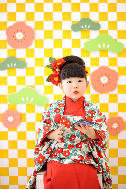 七五三3歳:着物/赤×椿