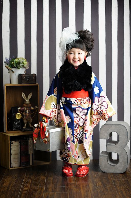 七五三3歳:着物/青+帯スタイル