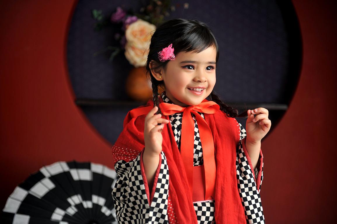 七五三3歳:着物/黒+帯スタイル
