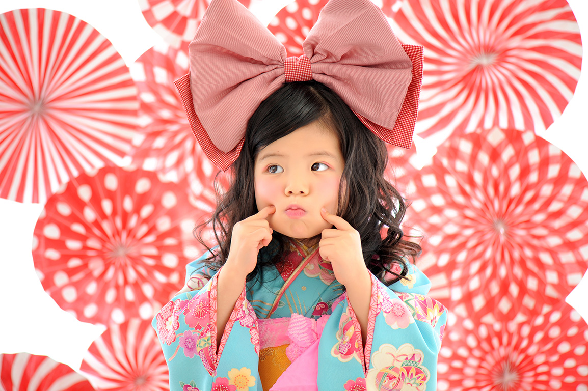 七五三3歳:着物/水色+帯スタイル
