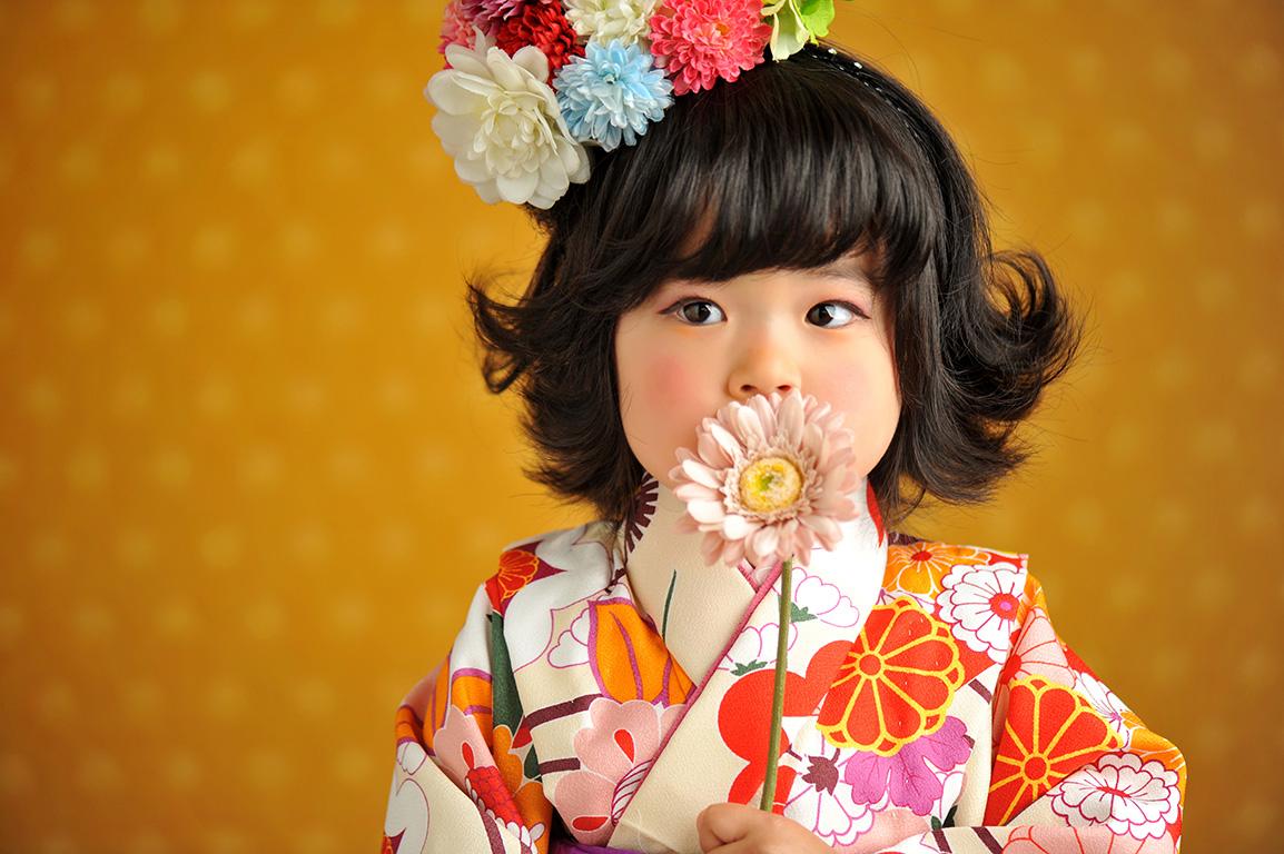七五三3歳:着物/クリーム+帯スタイル