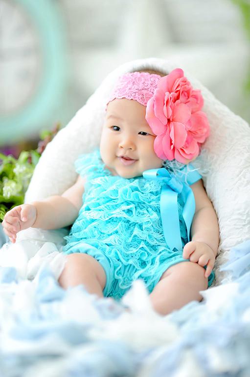 赤ちゃんカジュアル衣裳:ロンパースタイプ(水色)