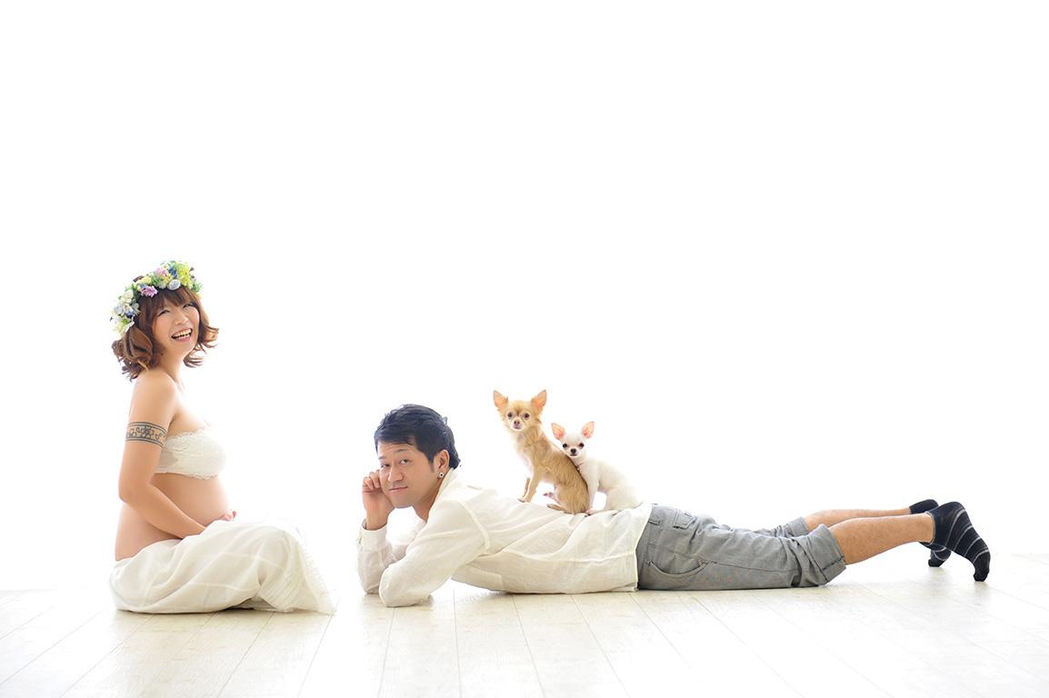 マタニティフォト:ご夫婦写真withペット