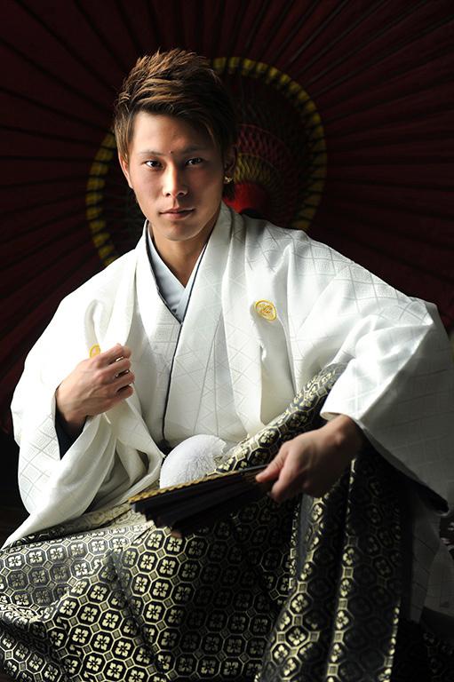 成人男性写真:羽織袴/白