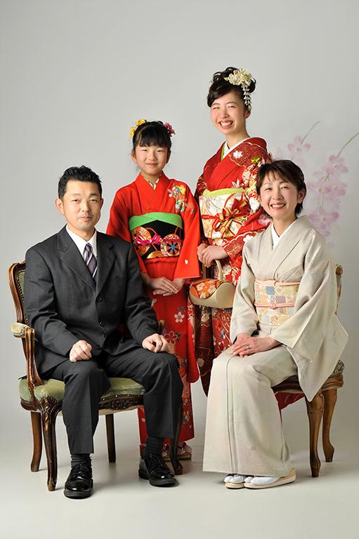 成人家族写真:母姉妹和装