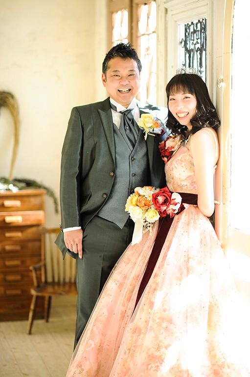 ウエディングフォト:カラードレス/オレンジ(小花柄)